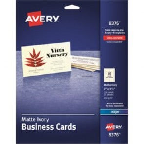 "Avery 2"" x 3.5"" Ivory Business Cards, Sure Feed Technolo"