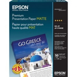 "Epson Presentation Paper - Letter - 8 1/2"" x 11"" - 44 lb Basis Weight - Matte - 97 Brightness - 50 / Pack - White"