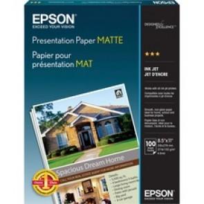 """Epson Pesentation/Matte Paper, 90 Brightness, 27 Lb.,  (8-1/2"""" x 11"""", Letter), 100/Ream, White"""