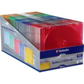 Verbatim CD/DVD Color Slim Jewel Cases, Assorted - 50pk