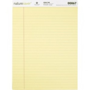 Nature Saver 100% Recycled Canary Legal Ruled Pads