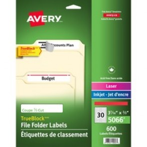 """Avery® TrueBlock(R) File Folder Labels, Sure Feed(TM) Technology, Permanent Adhesive, Red, 2/3"""" x 3-7/16"""" , 1,500 Labels (5066)"""