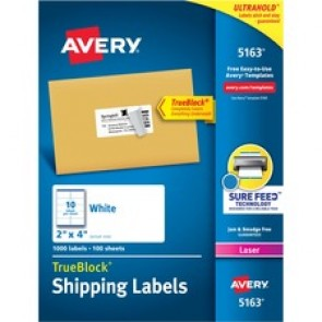 """Avery® TrueBlock(R) Shipping Labels, Sure Feed(TM) Technology, Permanent Adhesive, 2"""" x 4"""" , 1,000 Labels (5163)"""