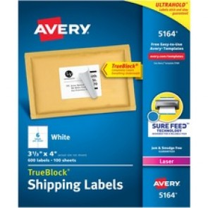 """Avery® TrueBlock(R) Shipping Labels, Sure Feed(TM) Technology, Permanent Adhesive, 3-1/3"""" x 4"""" , 600 Labels (5164)"""