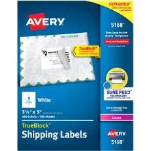 """Avery® TrueBlock(R) Shipping Labels, Sure Feed(TM) Technology, Permanent Adhesive, 3-1/2"""" x 5"""" , 400 Labels (5168)"""