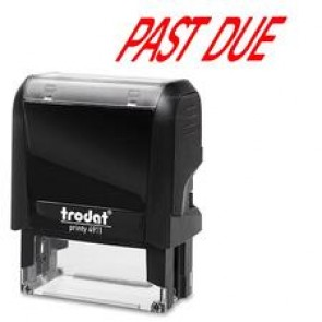 "Trodat Standard Size S-Printy Self Inking Stamp, ""Past due"", Red"