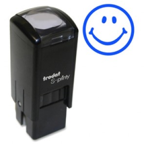 "Trodat Self Inking Stamp, ""Happy Face"", Small, Blue"