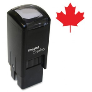 """Trodat Self Inking Stamp, """"Maple Leaf"""", Small, Red"""