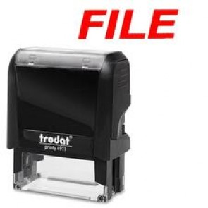 """Trodat Standard Size S-Printy Self Inking Stamp, """"File"""", Red"""