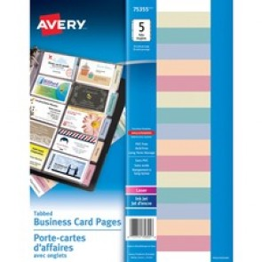 Avery Business Card Holder Pages, Tabbed, Letter, 5/Pk, Clear