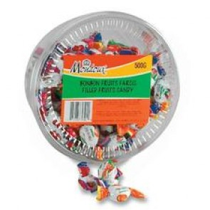 Mondoux Fruit Filled Candy, Individually Wrapped, Assorted, 500G/Tub