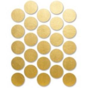 "First Base Imprintable Seals, Pressure Sensitive, 1-3/4"", 8/Pk, Gold"