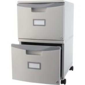 "Storex Mobile File, 2-Drawer, With Lock, 11-3/4"" x 17-1/4"" x 10"", Platinum"