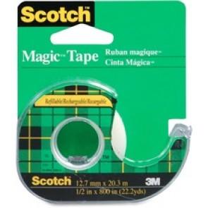 "3M  Dispenser Magic Tape Roll, 12.7mm, x 32.9m, 1"" Core"