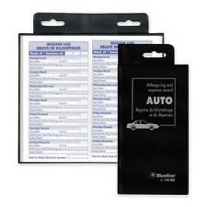 "Blueline Auto Record Book, Bilingual, 108 Pages, 6-3/8"" x 3-1/2"", Black"