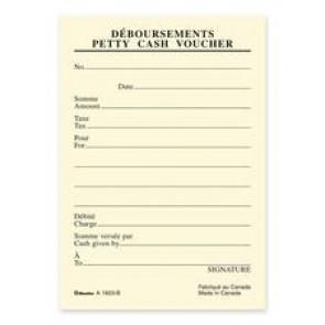 Blueline  Bilingual Petty Cash Vouchers Pad