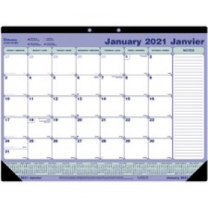 "Blueline Monthly Deskpad Calendar, Perforated, Bilingual, 21-1/4"" x 16"""