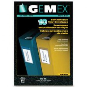 "Gemex Self-Adhesive Labelling Envelopes, 10/Pk, 1-1/2"" x 5-1/2"", Clear"