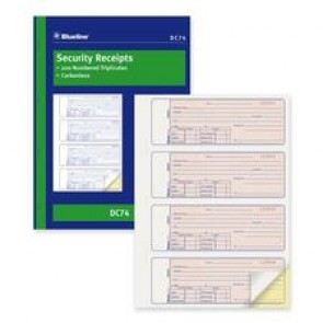 Blueline  Security Receipt Forms Book