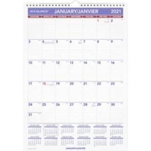 At-A-Glance Ruled Daily Blocks Monthly Wall Calendar
