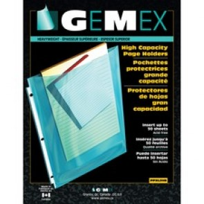 "Gemex Top-Load Page Holders, 3 Hole Punched, .003""T, 8-1/2"" x 11"", 50/Box, Non-Glare"