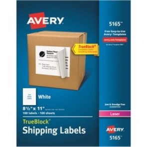 """Avery® Shipping Labels, TrueBlock(R) Technology, Permanent Adhesive, 8-1/2"""" x 11"""" , 100 Labels (5165)"""