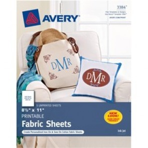 "Avery® Printable Fabric, 8-1/2"" x 11"" , Inkjet Printers, 5 Sheets (3384)"