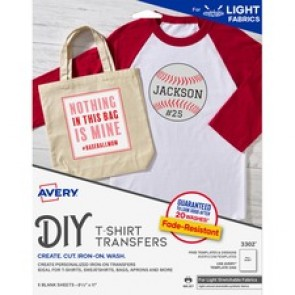 """Avery® Stretchable Fabric Transfers, Matte, 8-1/2"""" x 11"""" , 5 Labels"""