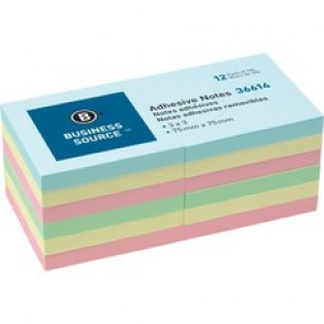 "Business Source 3"" Plain Pastel Colors Adhesive Notes"