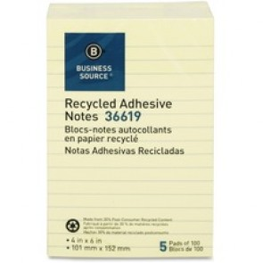 Business Source Yellow Adhesive Notes