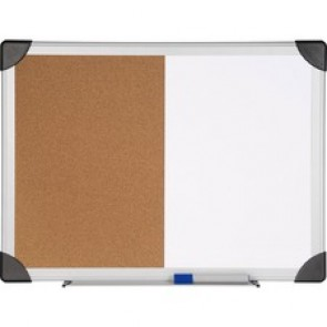 Lorell Dry Erase Aluminum Frame Cork Combo Boards