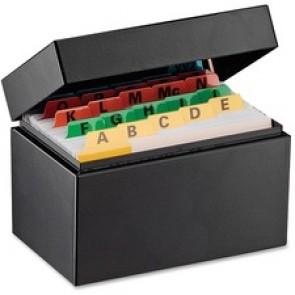 "Steelmaster Card File Box, 5-1/2"" x 3-3/16"" x 3-9/16"", 900 Card Capacity, Black"
