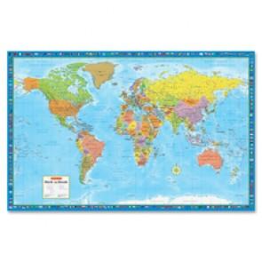 "CCC World Wall Map, Laminated, 38"" x 59"""