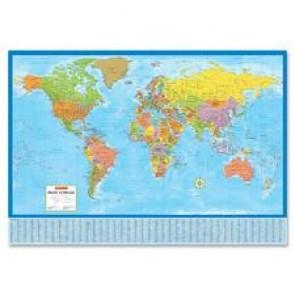 CCC Laminated Bilingual World Wall Map