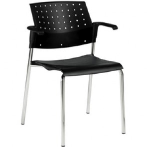 Global Sonic Stacking Chair with Arm and Polypropylene Ba