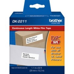 "Brother  Labels - (Black on White)  (1.1""x50ft)  Continuous Length Film"