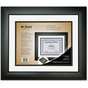 First Base  Tuxedo Black double Matte Certificate Frame