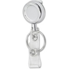 Merangue Chrome-finish Metal Badge Reel