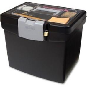 "Storex Portable File Box With Top Organizer, 13-1/2"" x 11"" x 12-1/2"", Black"