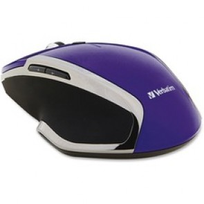 Verbatim Wireless Notebook 6-Button Deluxe Blue LED Mouse - Purple