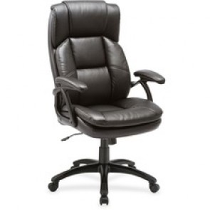 "Lorell Leather Hi-Back Chair, 27"" x 32"" x 44-1/2"", Black"