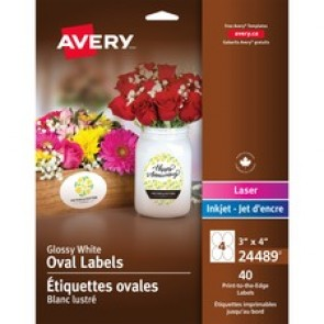 Avery® Glossy White Oval Labels