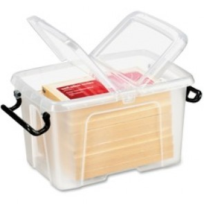 """Greenside Smart Box With Lid, Clear,  for Pen/Pencil, Marker, Binder, Office Supplies, 5.3"""" x 7.7"""" x 4.3"""", Clear"""