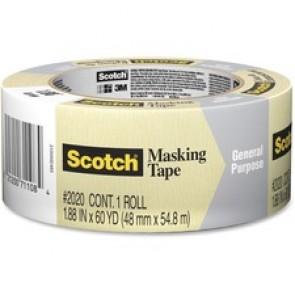 "Scotch General Purpose Masking Tape, 3"" Core, 48mm, x 55m, Natural"