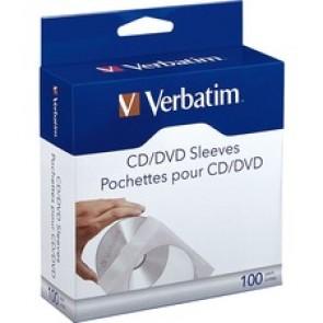 Verbatim CD/DVD Paper Sleeves with Clear Window - 100pk Box