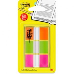 Post-it® Flags, Orange, Lime, Pink .94 in wide, 60/On-the-Go Dispenser, 1 Dispenser/Pack