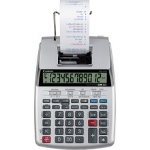 "Canon  P23-DHV-3 12-digit Printing Calculator - Clock, Calendar, Decimal Point Selector Switch, Sign Change - 2.2"" x 6.4"" x 9.1"" - Silver - 1 Each"