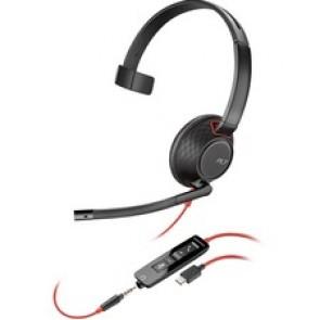 Plantronics Blackwire 5200 Series USB Headset - Mono - USB Type C, Mini-phone (3.5mm) - Wired - Over-the-head - Monaural - Supra-aural