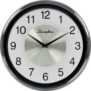 Swingline Round Fashion Clock - Silver Main Dial - Black