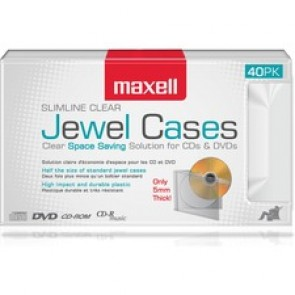 Maxell Jewel Cases Slim Line - Clear (40 Pack)